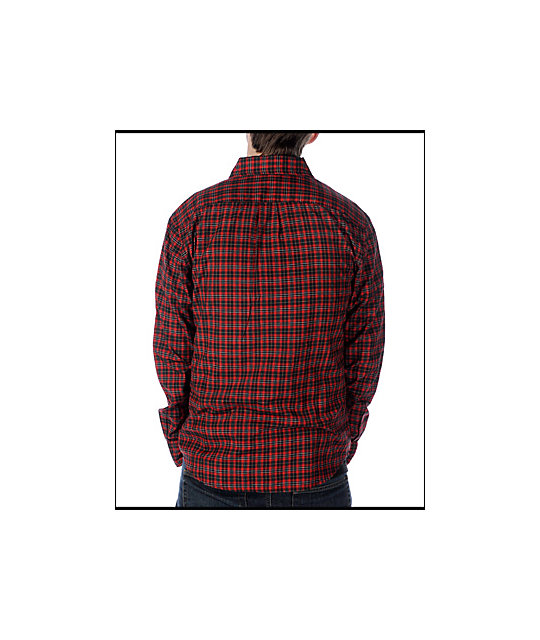 Enjoi Score Red Long Sleeve Woven Shirt