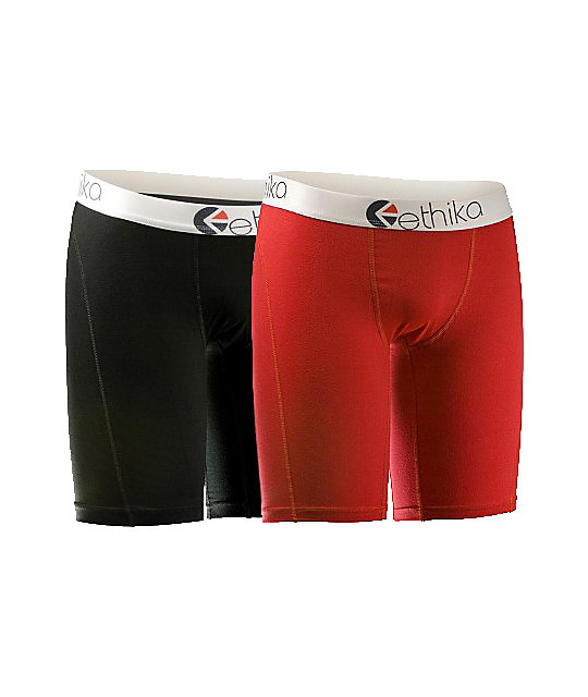 Ethika The Staple 2-Pack Red & Black Boxer Briefs