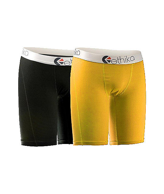 Ethika The Staple 2-Pack Yellow & Black Boxer Briefs