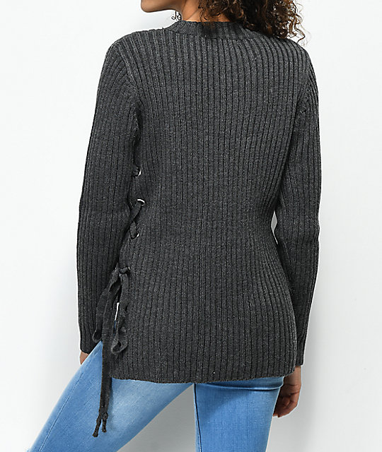 Ethos Kay Side Lace Down Charcoal Sweater