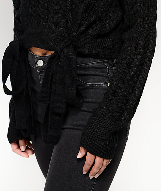 Ethos Sandi Laced Black Crop Sweater
