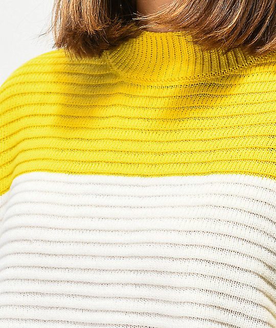 Ethos Yellow Block Mock Neck Sweater