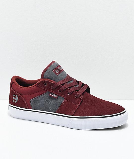 Etnies Barge LS Burgundy & Grey Skate Shoes