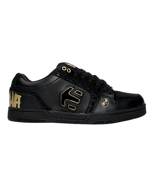 Etnies Chrome Metal Mulisha Black & Gold Shoes