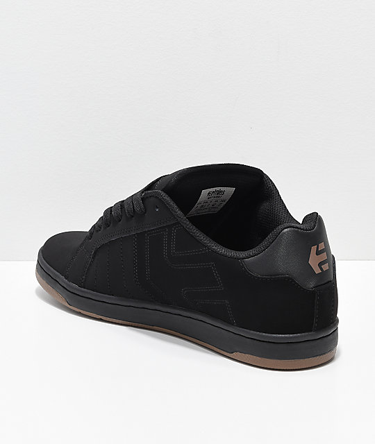 Etnies Fader 2 Black & Gum Nubuck Skate Shoes