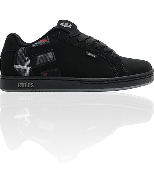 Etnies Fader Black, Grey & Plaid Skate Shoes