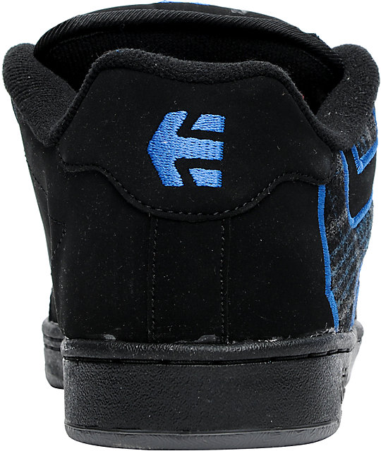 Etnies Fader Black & Royal Plaid Skate Shoes