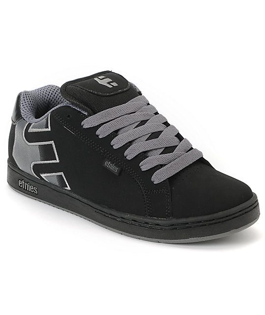 Etnies Fader Black & Silver Skate Shoes