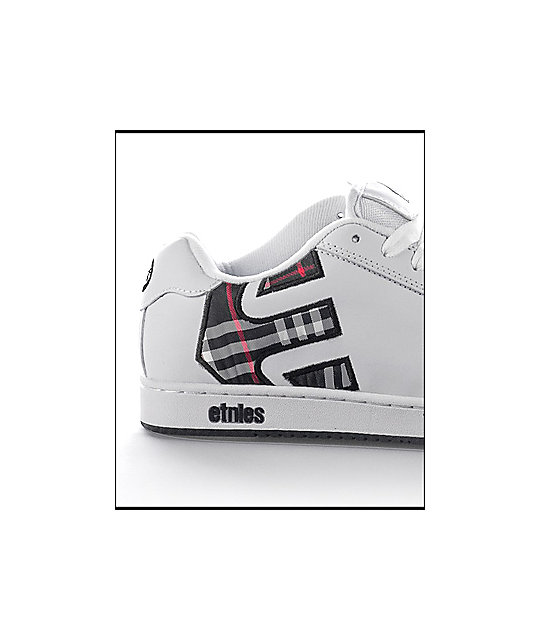 Etnies Fader White, Black & Red Plaid Shoes