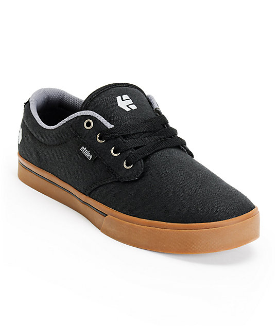 Etnies Jameson 2 Eco Black & Gum Canvas Skate Shoes ...