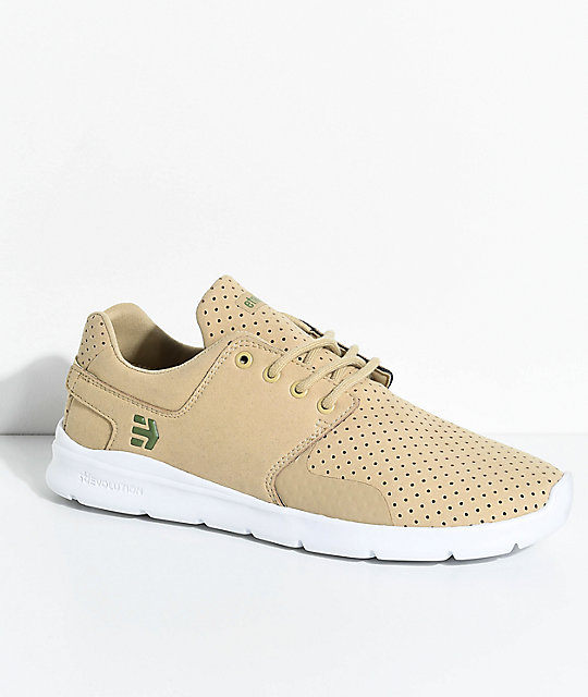 Etnies Scout XT Tan & White Microfiber Suede Shoes