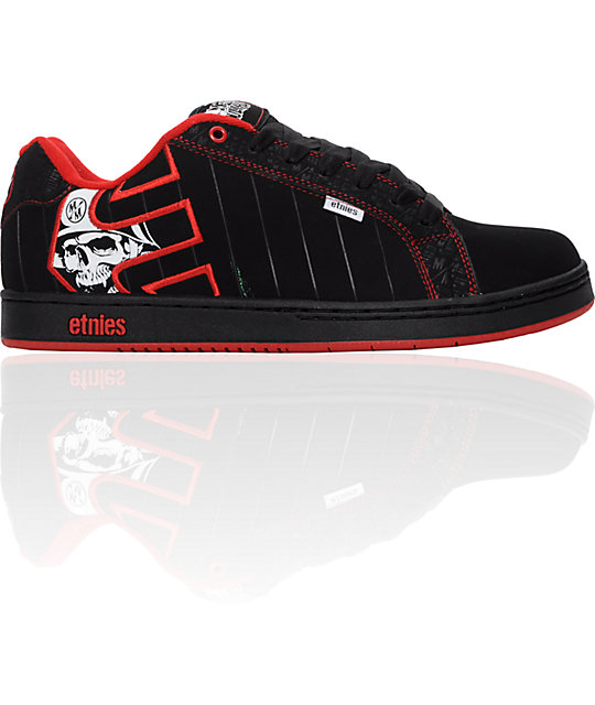 Etnies x Metal Mulisha Fader Black, White & Red Shoes