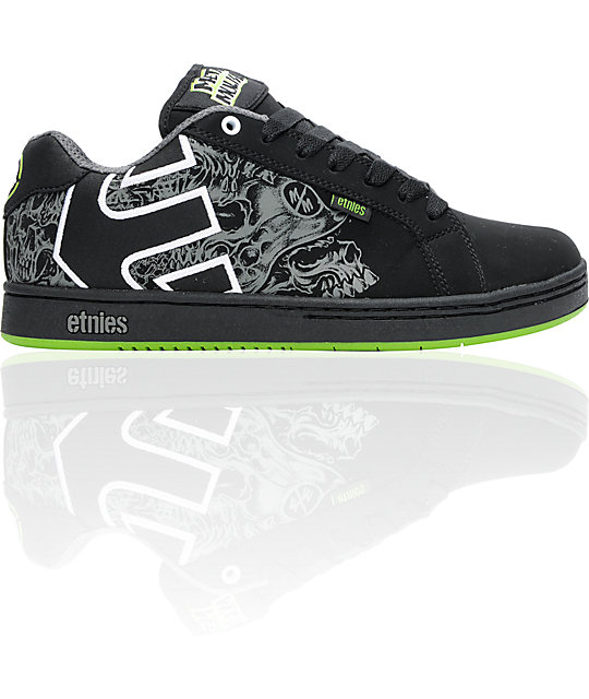 Etnies x Metal Mulisha Fader Black & Green Skate Shoes ...