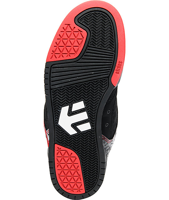 Etnies x Metal Mulisha Piston Black, Red, & White Skate Shoes