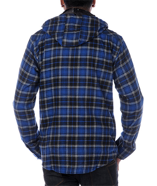Ezekiel Collin Blue Hooded Flannel Shirt