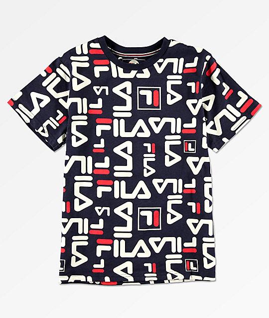 a0104482adde FILA Boys All Over Logo Print Navy T-Shirt