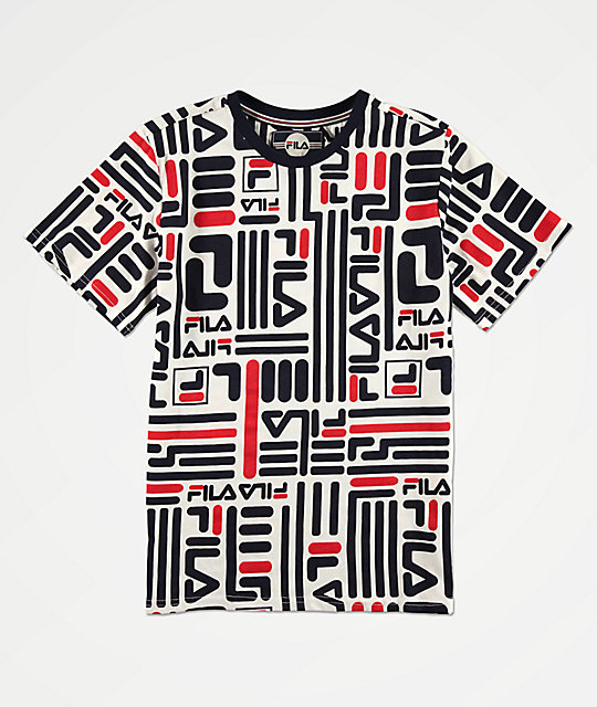 Fila Boys All Over Logo Printed White, Navy &Amp; Red T Shirt by Fila