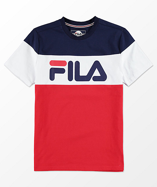 Fila Boys Color Blocked Blue White Red T Shirt Zumiez