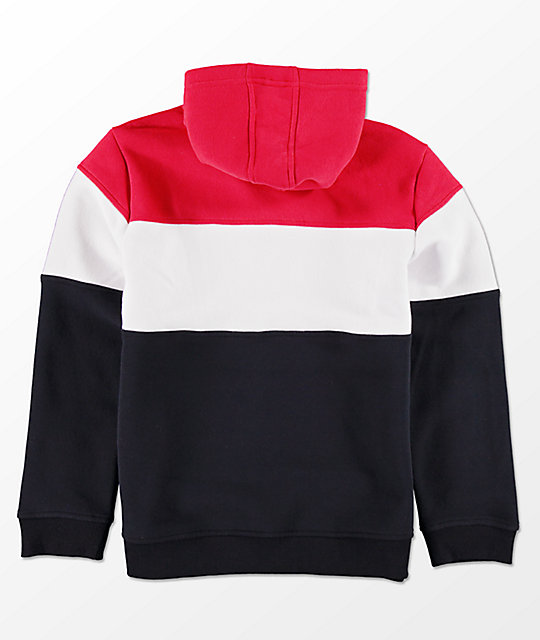 FILA Boys Color Blocked Red, White & Blue Hoodie