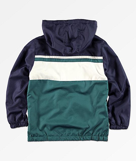 5d2f01db4d0cf ... FILA Boys Green, Navy & White Colorblock Hooded Windbreaker Jacket ...