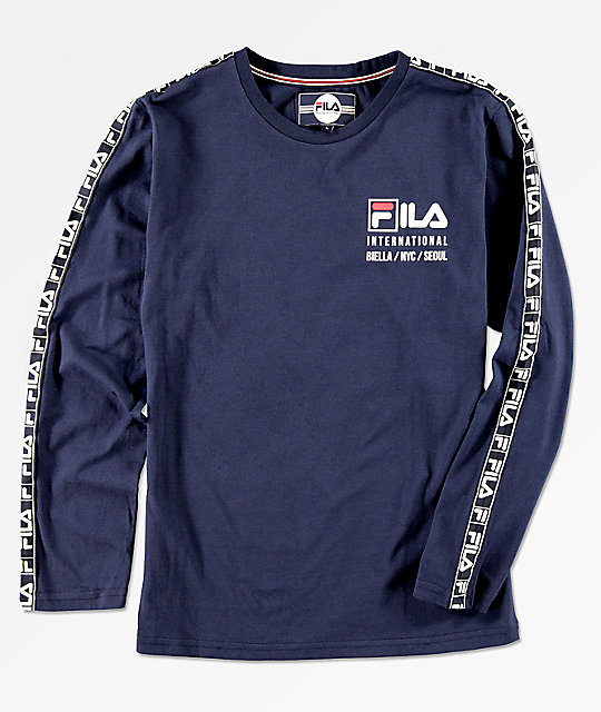 FILA Boys International Logo Taping Navy Long Sleeve T-Shirt