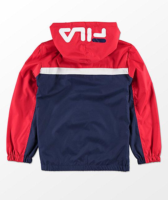 16a6be869a1a0 FILA Boys Red, White & Blue Hooded Windbreaker Jacket | Zumiez
