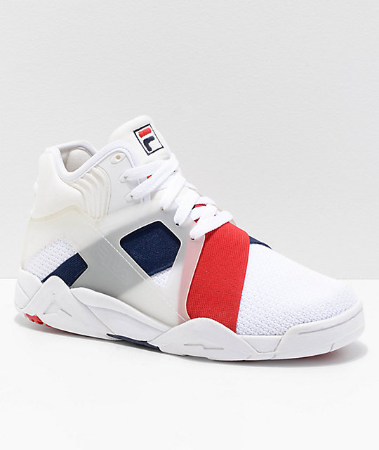 FILA Cage 17 White, Navy & Red Shoes