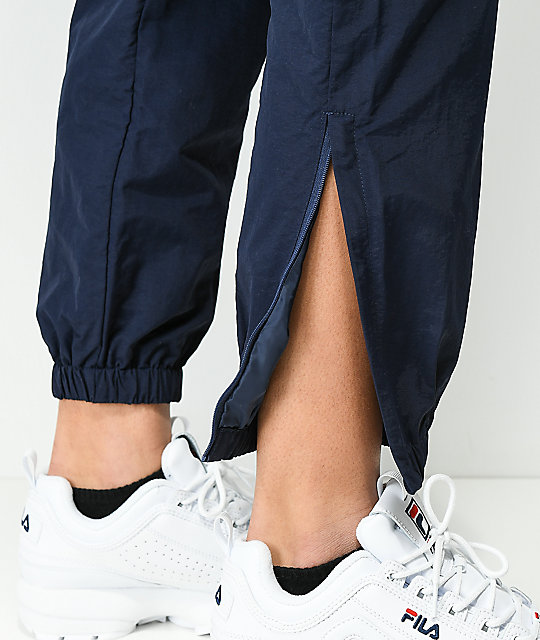 FILA Diana Navy Cutout Zipper Track Pants