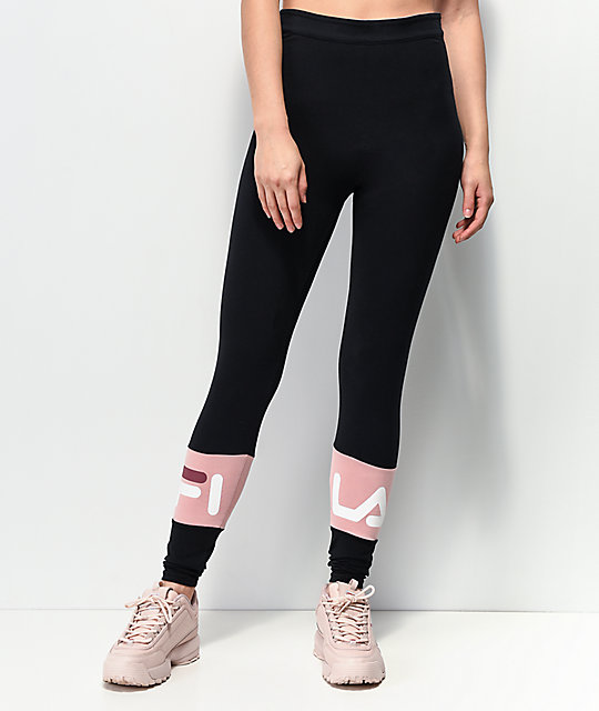 6eaa8c1a326dd FILA Dina Black   Pink Leggings