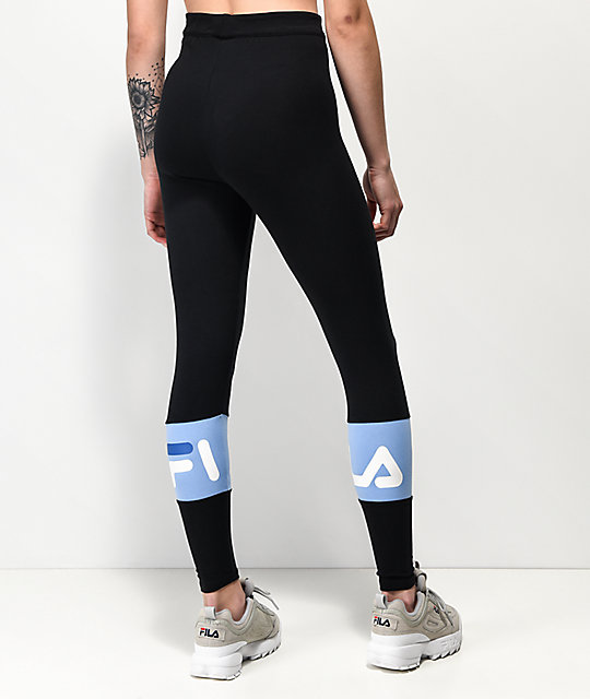 FILA Dina Black & Vista Blue Leggings