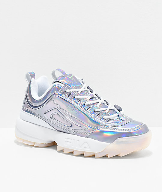 FILA Disruptor II Iridescent Silver & White Shoes