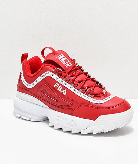 44111665dd92 FILA Disruptor II Logo Taping Red Shoes