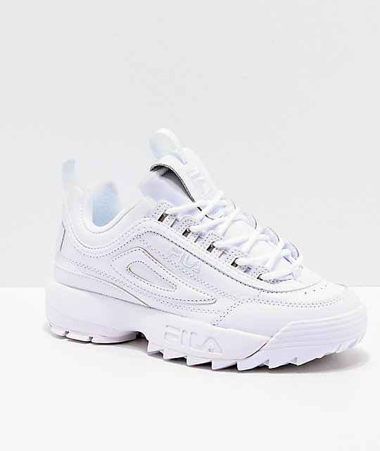 4cc1428fc01 FILA Disruptor II Premium All White Shoes | Zumiez