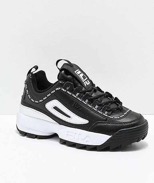 top-rated authentic latest style of 2019 new arrive FILA Disruptor II Premium Black & White Leather Shoes