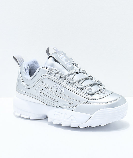 38d4ae1066c7 FILA Disruptor II Premium Metallic   White Shoes