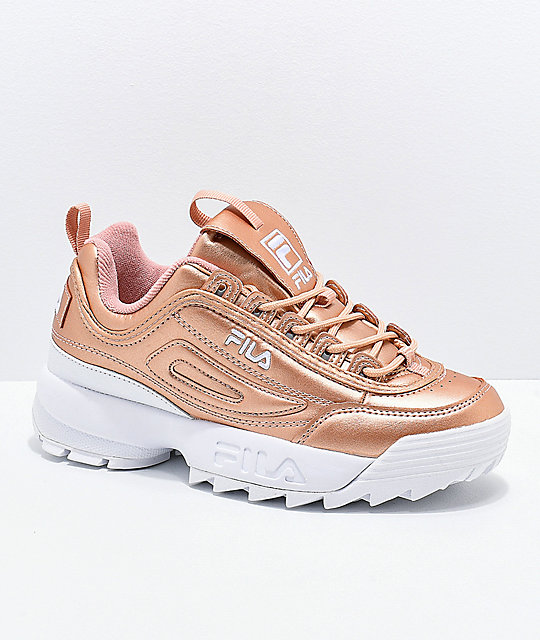 49ee54dff180 FILA Disruptor II Premium Rose Gold   White Shoes