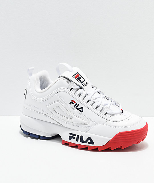 matching in colour factory outlet various colors FILA Disruptor II Premium White, Red & Blue Shoes