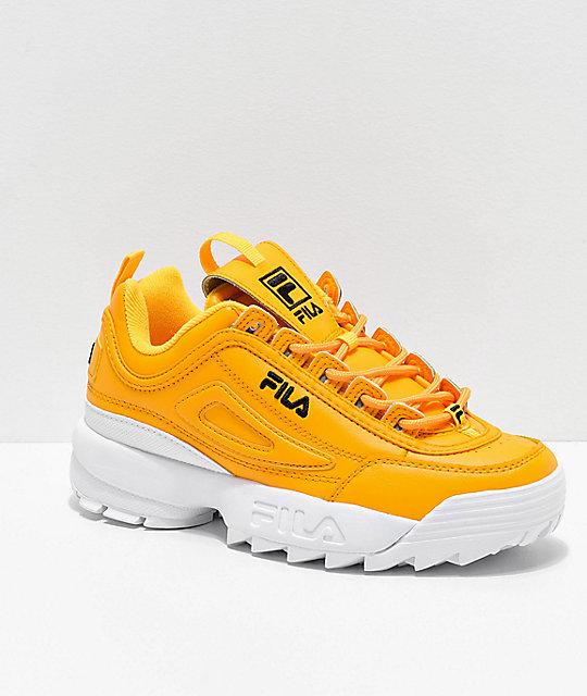 entire collection moderate price wholesale price FILA Disruptor II Premium Yellow, White & Black Shoes