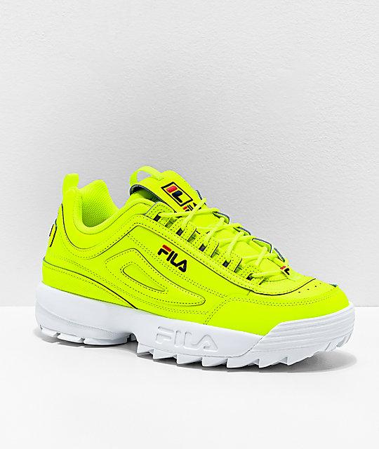 FILA Disruptor II zapatos en amarillo neón y blanco para hombres