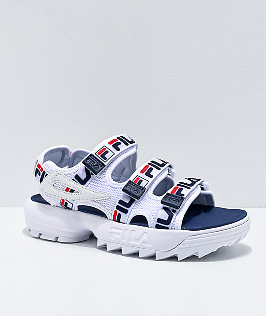 FILA Disruptor Taping White, Red & Navy Platform Sandals