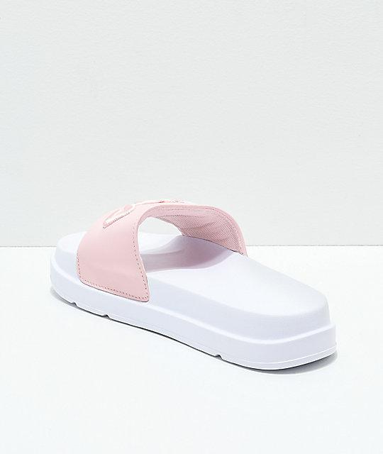Fila Drifter Bold Pink Amp White Slide Sandals Zumiez