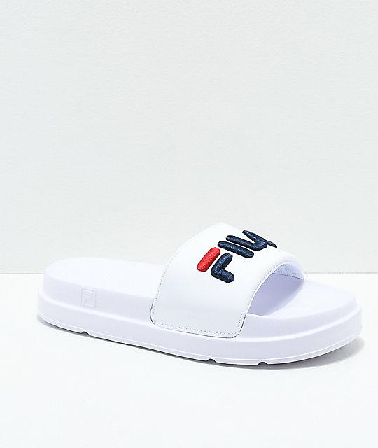 bd02ef682b FILA Drifter Bold White, Navy and Red Slide Sandals