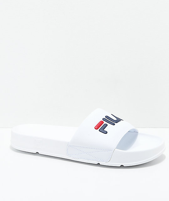 Fila Drifter White Red Amp Navy Slide Sandals Zumiez