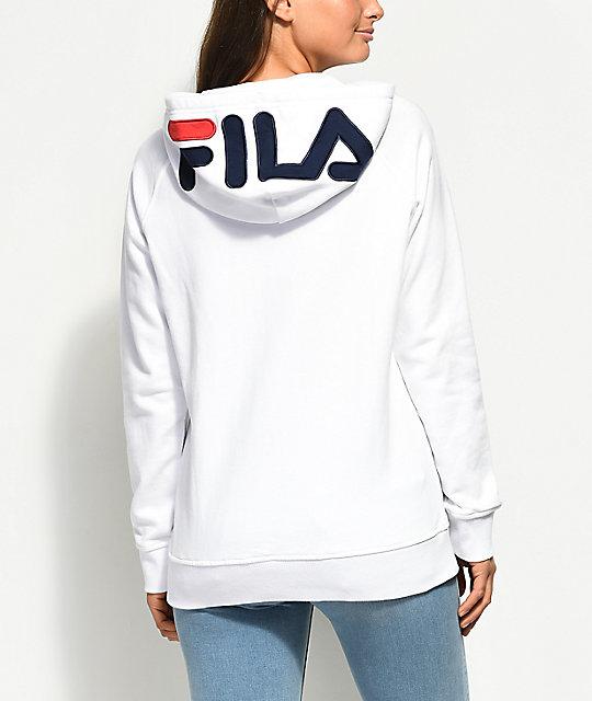 FILA Embroidered Logo White Hoodie