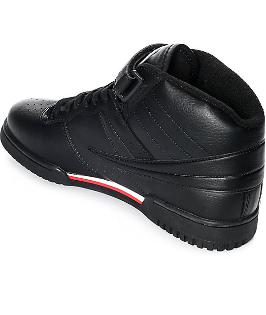 FILA F-13 Mid Black, White & Red Shoes
