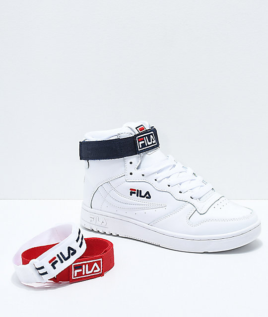 FILA FX-100 White, Navy & Red Shoes