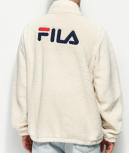 e9867fb3a422 Shoptagr | Fila Finlay Gardenia, Navy &Amp; Red Sherpa Jacket by Fila