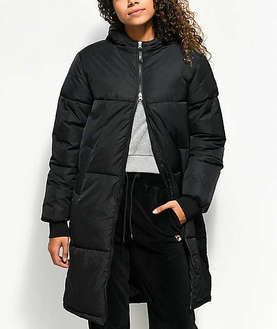 Long Black Jacket Fila Grace Parka Puffer qv88Rw4