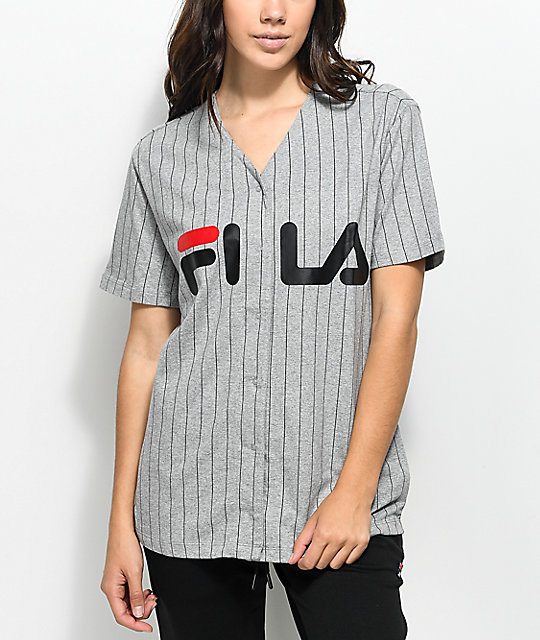 FILA Grey & Black Baseball Jersey