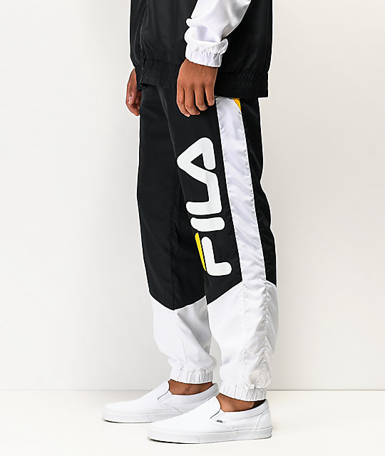 FILA Gustavo Black, White & Gold Track Pants